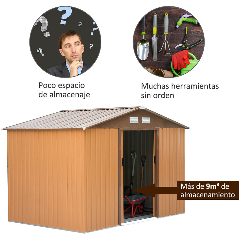 Outsunny Lockable Garden Shed Large Patio Tool Metal Storage