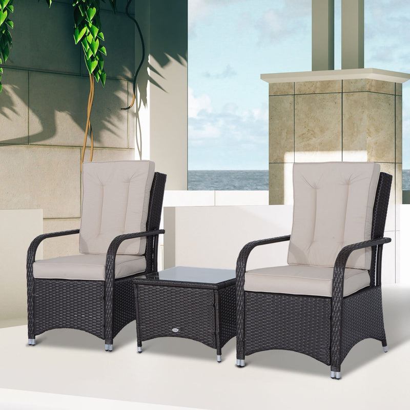 Outsunny Rattan Garden Furniture 3 PCs Sofa Chair Table
