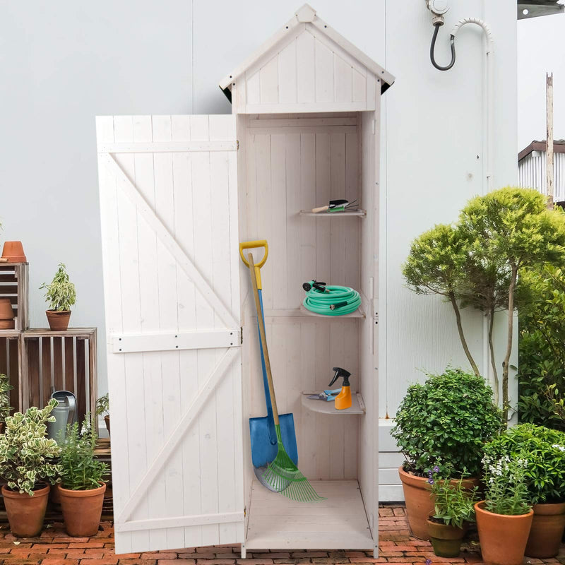 Outsunny Wooden Garden Shed Tool Storage Cabinet Outdoor