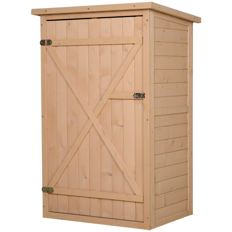 Outsunny Wooden Garden Storage Shed Fir Wood Tool Cabinet