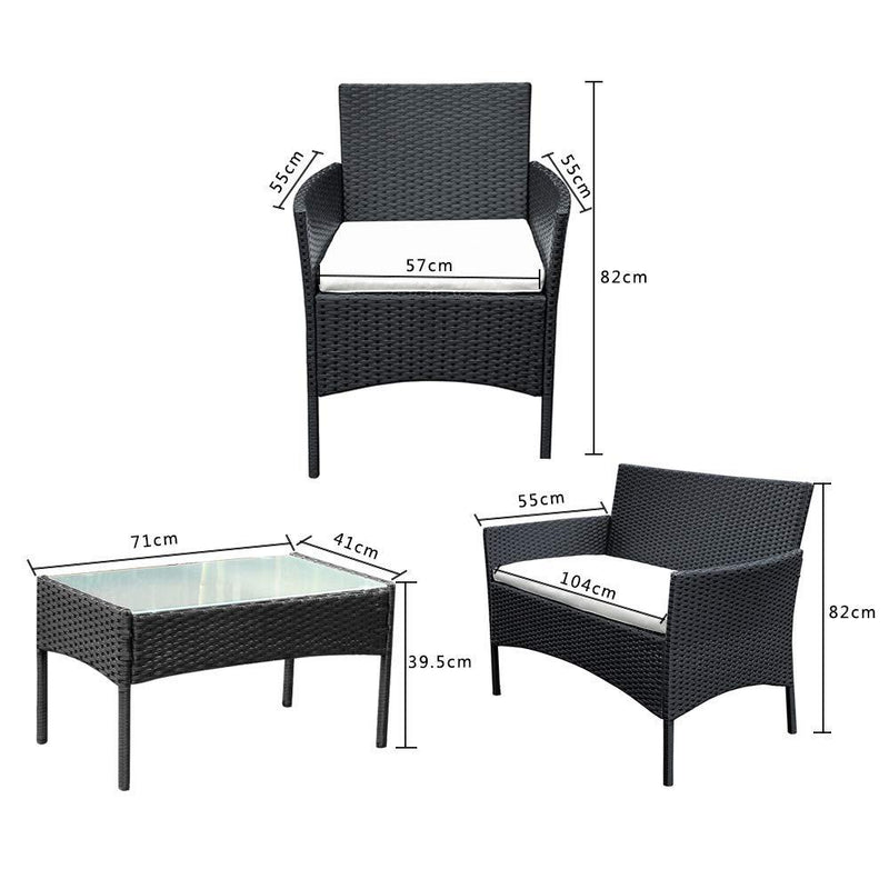 Panana Rattan Garden Furniture 4 Piece Set Table Chair Sofa