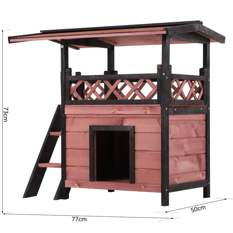 PawHut Wood Cat House Outdoor Luxury Wooden Room View Patio