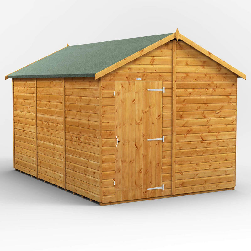 POWER | 12x8 Windowless Apex Wooden Garden Shed | Size 12 x