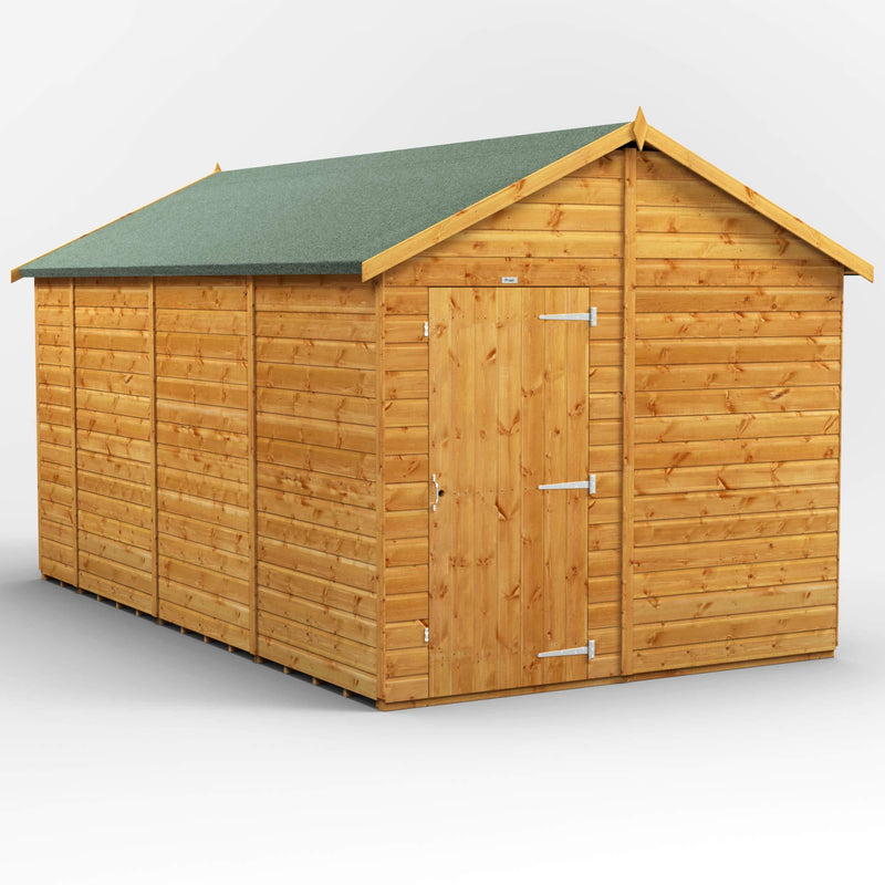 POWER | 14x8 Windowless Apex Wooden Garden Shed | Size 14 x