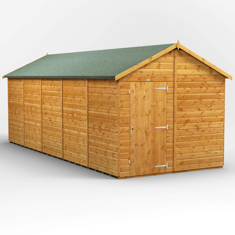 POWER | 20x8 Windowless Apex Wooden Garden Shed | Size 20 x