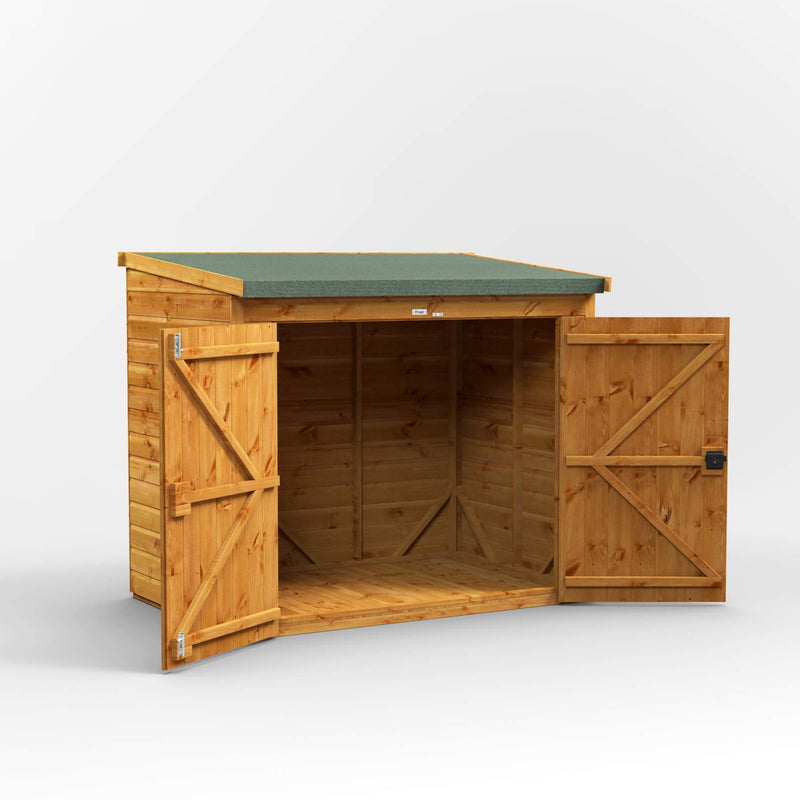 POWER | 6x4 Pent Wooden Bike Shed | Shiplap Bicycle Sheds