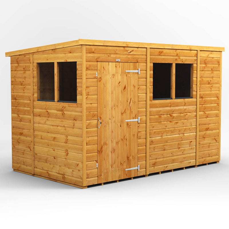 Power Sheds | 10x6 Power Pent Wooden Garden Shed | Size 10 x