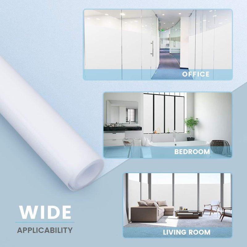 Rabbitgoo Self-Adhesive Frosted Glass Window Film Opaque