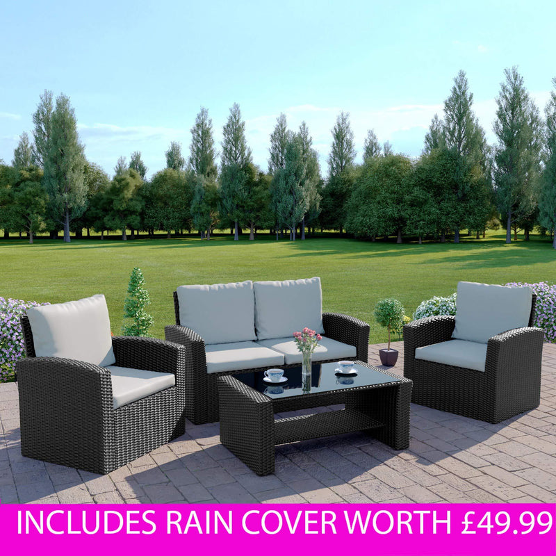 Rattan Outdoor Garden Patio/Conservatory 4 Seater Sofa
