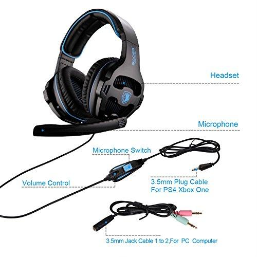 SADES Gaming Headset with Mic for PS4 SA810 2018 New Noise