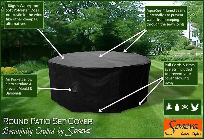 Soneva Large Round Patio Garden Table Set Polyester Cover