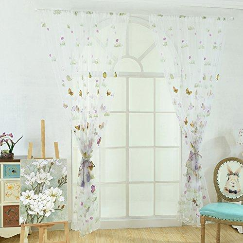 Tangbasi Tulle Voile Door Window Curtain Drapes Sheer Panels