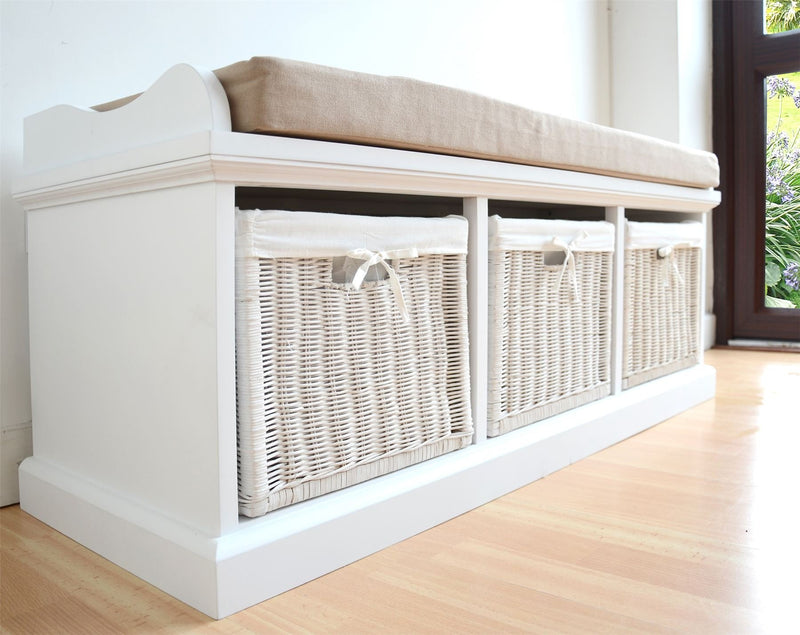 Tetbury White Storage Bench with Cushion. Quality hallway
