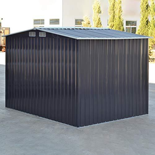 The Fellie Garden Storage Shed 6x8ft Tool Shed Carbon Black