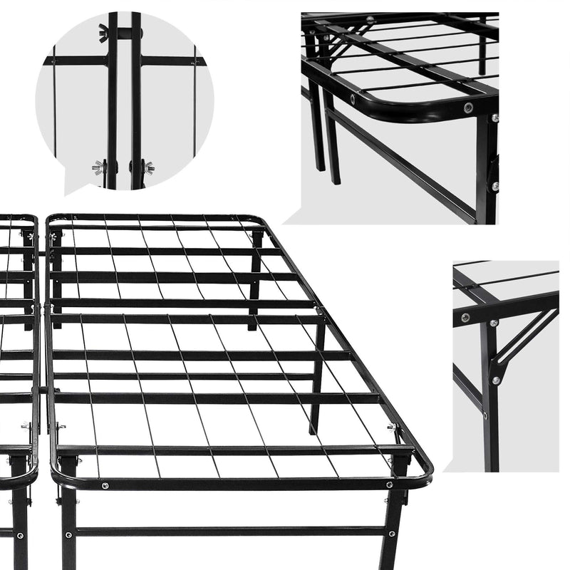 Todeco Folding Queen Size Bed Frame 2 Single Metal Bed Base
