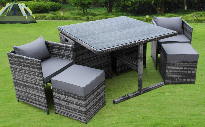 UK Leisure World RATTAN WICKER GARDEN OUTDOOR CUBE TABLE AND