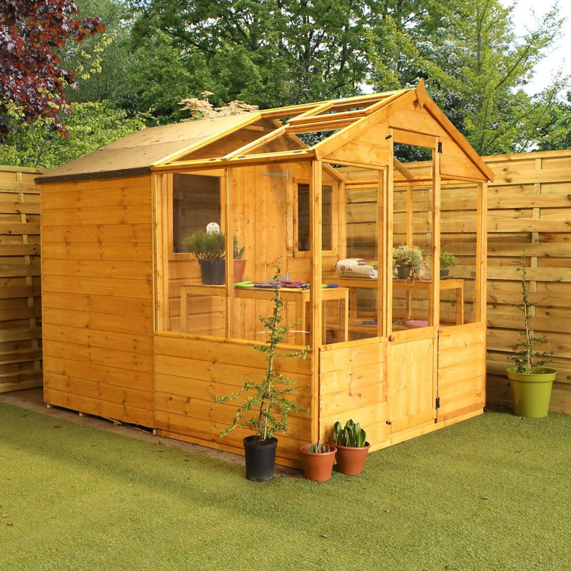 WALTONS EST. 1878 Wooden Garden Greenhouse with Shed 8x6