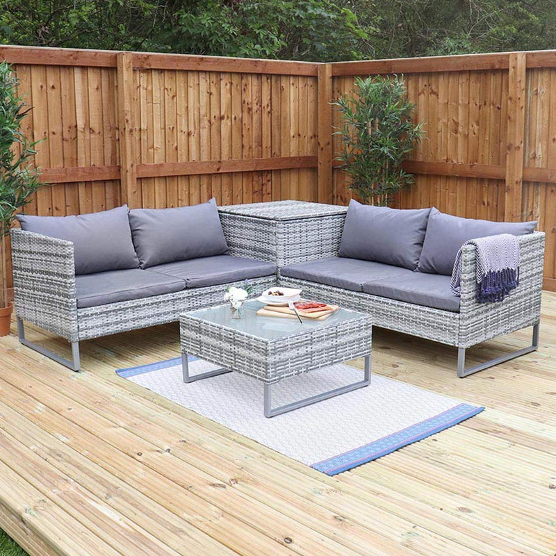 Wido Grey Rattan 4 Piece Outdoor Corner Sofa With Coffee