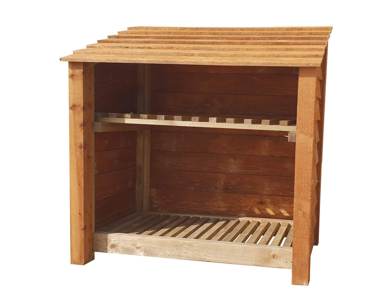 Wooden Log Store With Kindling Shelf 4Ft Brown (1.2 cubic