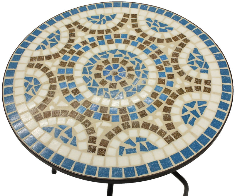 Woodside Blue Mosaic Garden Table And Folding Chair Set