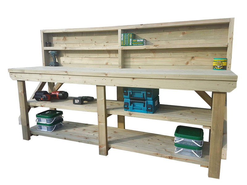 Workbench With Double Shelf and Back Panel Indoor/Outdoor -