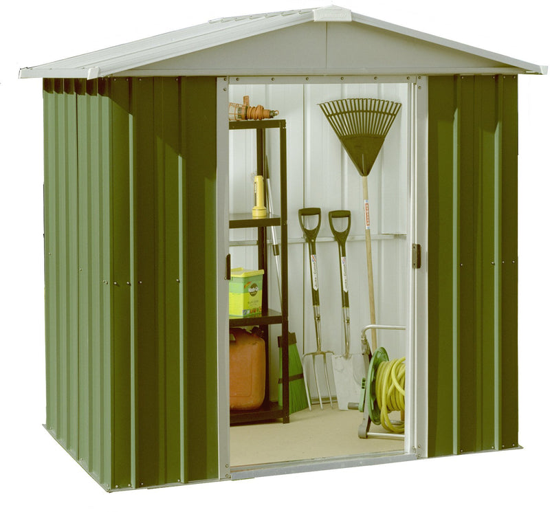 Yardmaster 6 x 4 ft Deluxe Apex Roofed Metal Shed - Green
