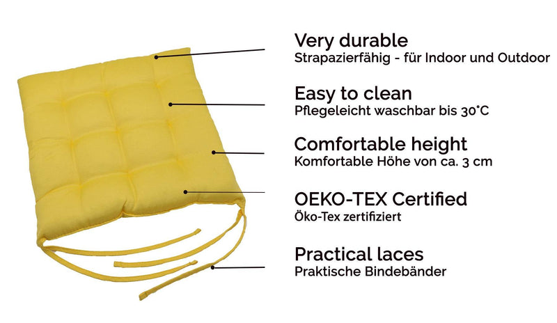ZOLLNER set of 4 chair cushions ca. 40x40 cm yellow (others
