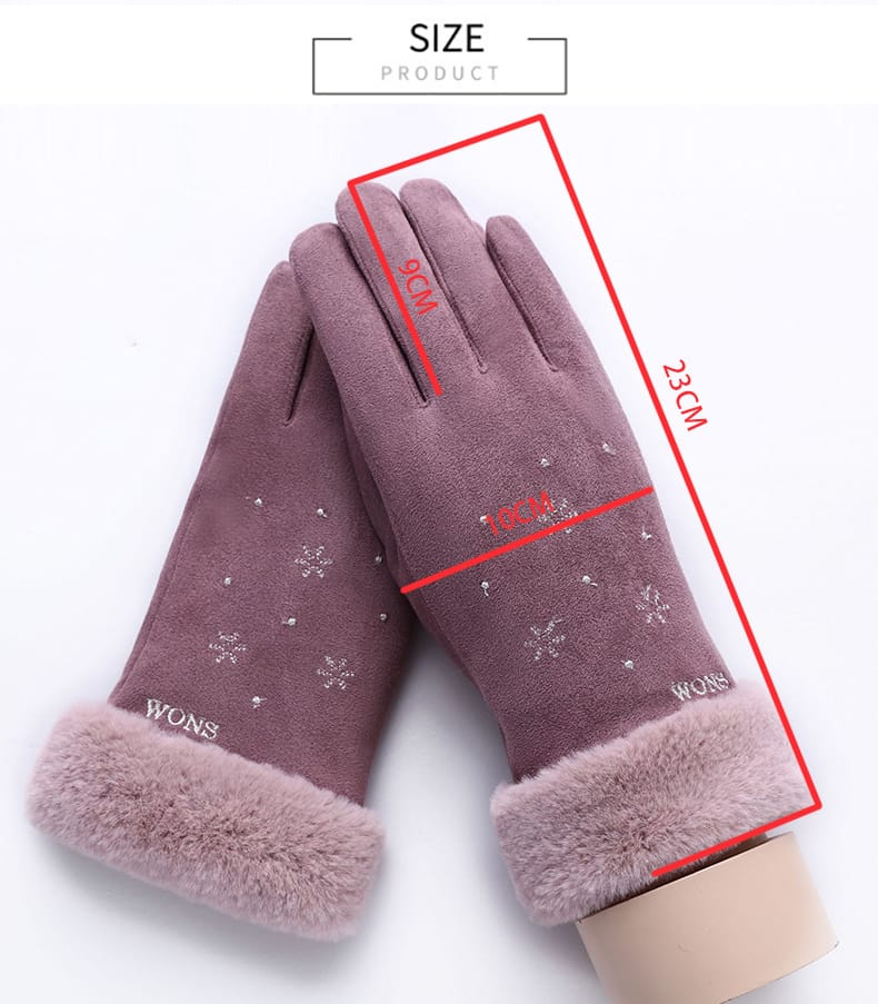 Sparsil Women Touch Screen Suede Glove Winter Double Layer
