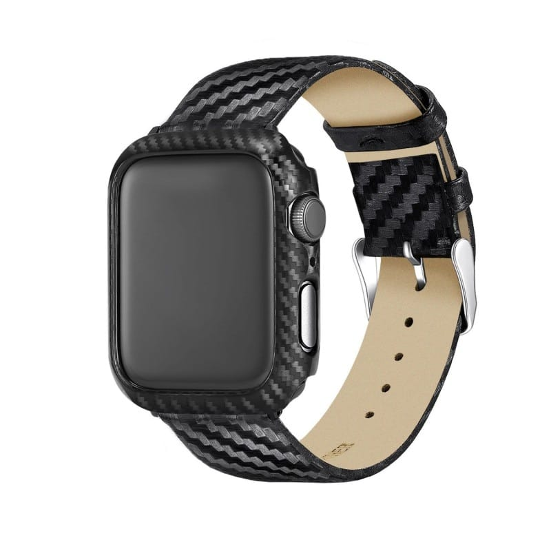Black Carbon Protective Case For Apple Watch Bands