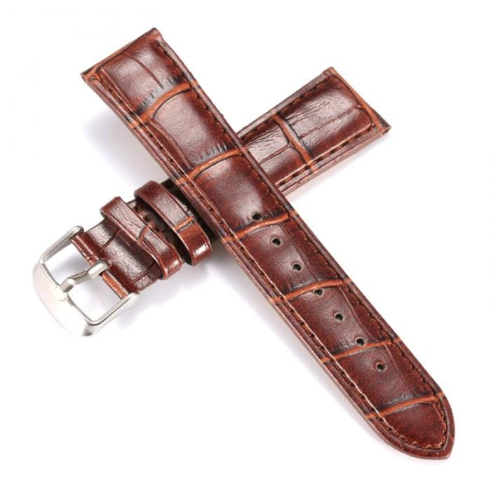 Black/Brown Simulation Leather Watchband 20mm/22mm