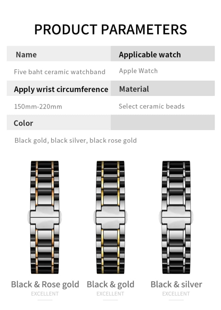 Ceramic watcn band For Apple Watch 4 5 44mm 40mm