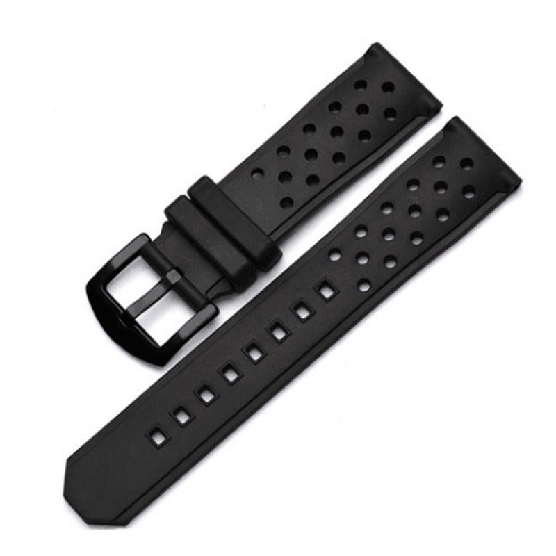 22mm Perforated Silicone Rubber Rally Watch Band Strap