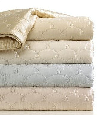 Barbara Barry Bedding, Dream Silk Quilted King Coverlet Champagne Quilt NEW