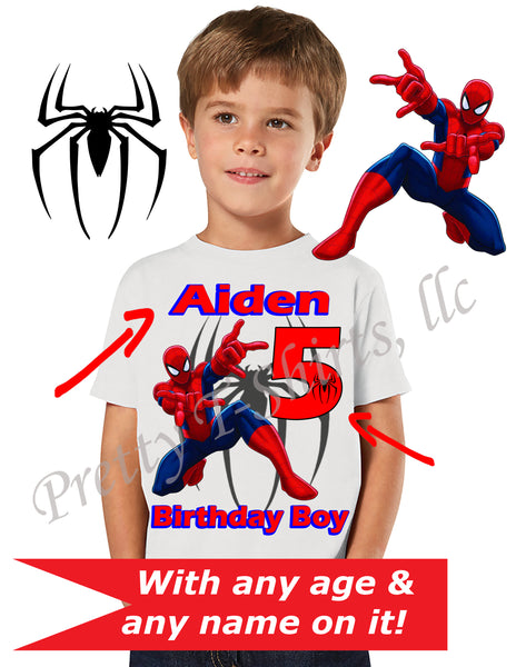 Spider Man Birthday Shirt, Custom Birthday Shirts, Spider Man Shirt, Spider-Man Custom Shirts