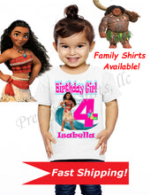 Load image into Gallery viewer, Moana Birthday Shirt, Custom Moana Birthday Shirts, Moana and Maui Shirt, Moana Birthday