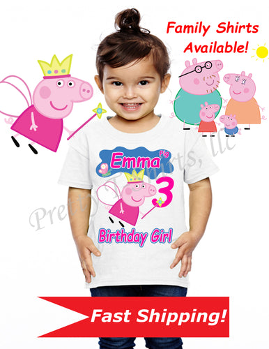 Peppa Pig Birthday Shirt, Custom Peppa Birthday Shirts, Peppa Pig Shirt, Peppa Pig Birthday