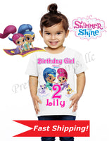 Shimmer and Shine Birthday Shirt, Custom Shimmer and Shine Birthday Shirts, Shimmer and Shine Shirt, Shimmer and Shine Birthday
