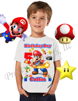 Fire Mario Birthday Shirt, Custom Mario Birthday Shirts, Fire Mario Shirt, Mario Shirt, #2
