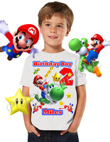 Mario and Yoshi Birthday Shirt, Custom Mario Birthday Shirts, Mario & Yoshi Shirt, Nintendo Mario Shirt, #3