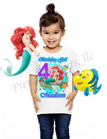 Ariel Birthday Shirt, Custom Birthday Shirts, Princess Ariel, Little Mermaid Birthday Shirt