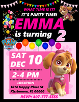 Skye Paw Patrol Birthday Party Invitations, Skye Paw Patrol, Custom Girl Birthday Invitations, Free envelopes