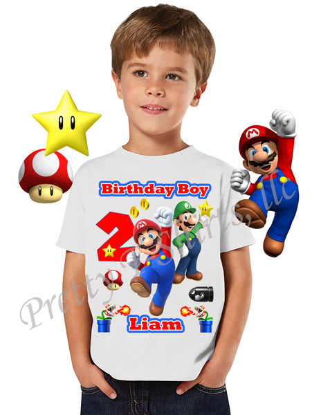 Mario Birthday Shirt, Custom Mario Birthday Shirts, Mario and Luigi Shirt, Super Mario Shirt, #1