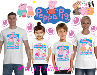 Peppa Birthday Shirt, Custom Peppa Pig Birthday Shirts, Custom Pig Shirt, Peppa Pig Birthday, #2