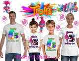 Trolls Birthday Shirt, GIRL, Custom Poppy Birthday Shirts, Trolls Poppy Shirt, Matching Family Shirt, Trolls Birthday
