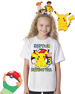 Girl Pikachu Pokemon Birthday Shirt, Custom Pokemon Birthday Shirts, Girl Pikachu Shirt, Pikachu Shirt, GIRL