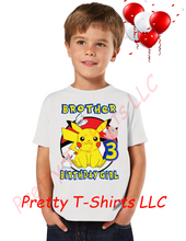 Load image into Gallery viewer, Girl Pikachu Pokemon Birthday Shirt, Custom Pokemon Birthday Shirts, Girl Pikachu Shirt, Pikachu Shirt, GIRL