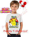 Boy Pikachu Pokemon Birthday Shirt, Custom Pokemon Birthday Shirts, BOY Pikachu Shirt, Pikachu Shirt, BOY