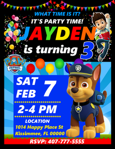 Chase Paw Patrol Birthday Party Invitations, Chase Paw Patrol, Custom Birthday Invitations, Free envelopes