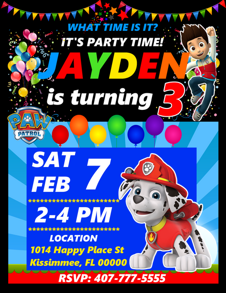 Marshall Paw Patrol Birthday Party Invitations, Marshall Paw Patrol, Custom Birthday Invitations, Free envelopes