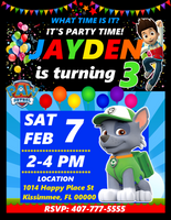 Rocky Paw Patrol Birthday Party Invitations, Rocky Paw Patrol, Custom Birthday Invitations, Free envelopes